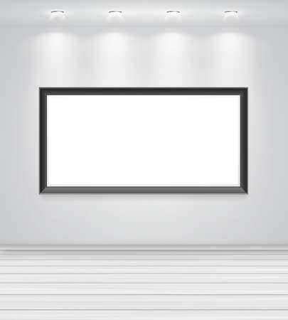 gallery interior: Gallery Interior with empty black frame on wall