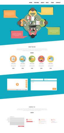 Flat One Page Website Design Template Vektoros illusztráció