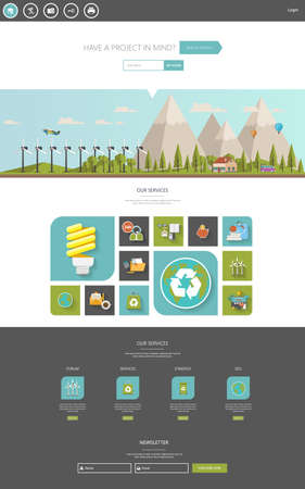 website header: Eco One Page Website Template Designs and Eco Header Illustration