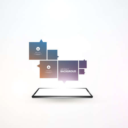 communicatio: Smartphone with outgoing abstract design. Vector Design