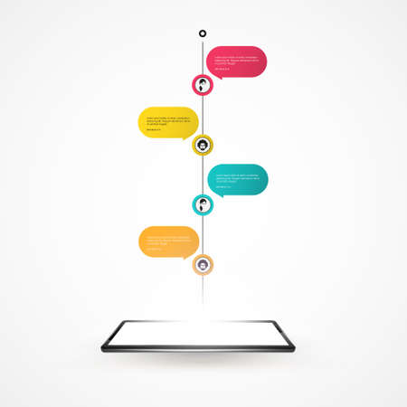 communicatio: Smartphone with outgoing timeline. Vector Design Illustration