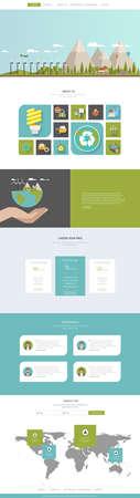 Eco One Page Website Template Designs and Eco Header Vektoros illusztráció