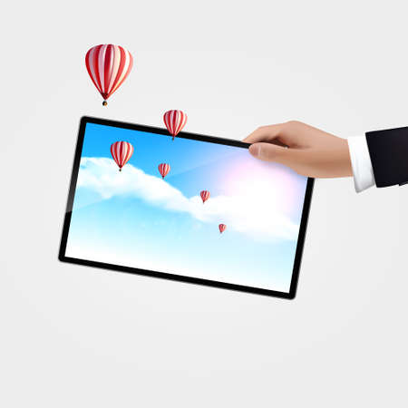 tablet pc in hand: Realistic Vector, hand holding tablet pc isolated on white background