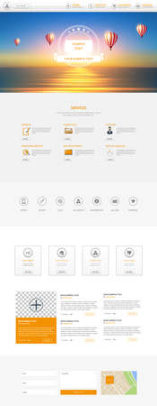 One Page Website Template with Header Designs with Blurred Backgrounds Vektoros illusztráció