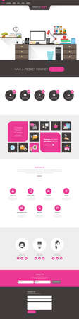 all in: One page website design template. All in one set for website design templates harm includes one page website, flat design concept and illustrations.