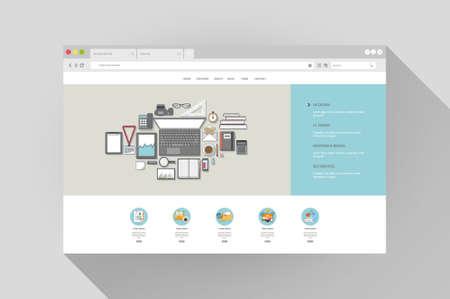 Vector design with flat-browser website