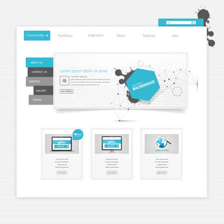 user friendly: Business website template - home page design - clean and simple - with a space for a text Illustration