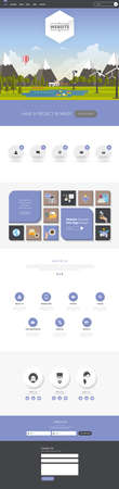 One Page Website Template flat landscape with Header Designs with illustration,
