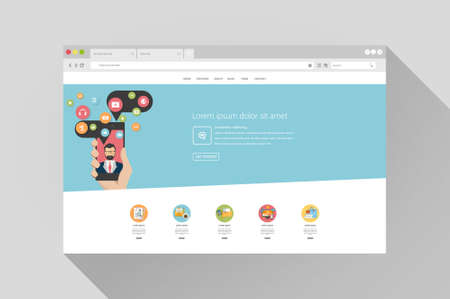 addresses: vector flat design with browser responsive website template