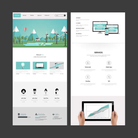wordpress: One page website design template. All in one set for website design