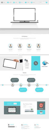 One Page Website Template with interior and tv illustration Vektoros illusztráció