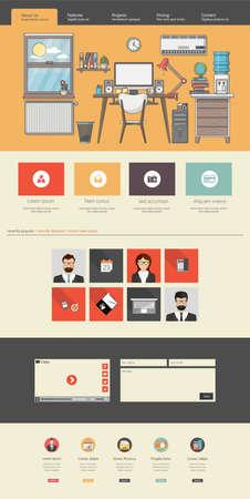 website: Flat Design Website Template Illustration