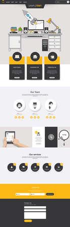 One Page Website Template flat with Quality office elements. Vektoros illusztráció
