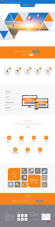 One page website design template. All in one set for website design includes harm one page website templates and flat design concept illustrations.