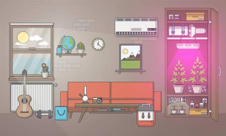 Quality Design Of Flat In Growing Marijuana Grow Room In Cabinet ...