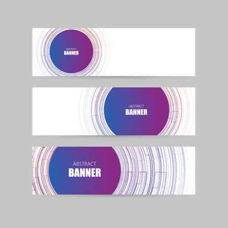 sg: Banner set with abstract linear shapes. For technology, business, party design. Geometric elements. Vector template. Illustration