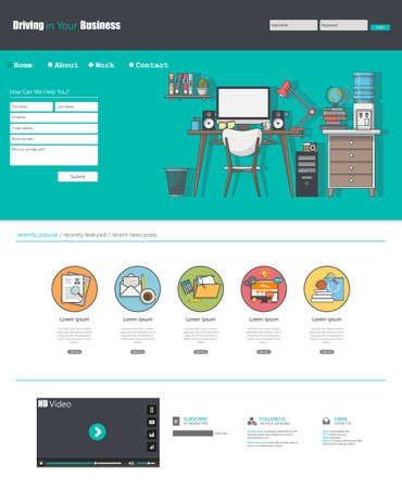 website window: Flat Design Website Template Illustration