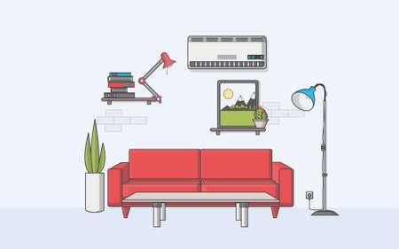 diningroom: Minimal Quality Living room and Flat style vector illustration.