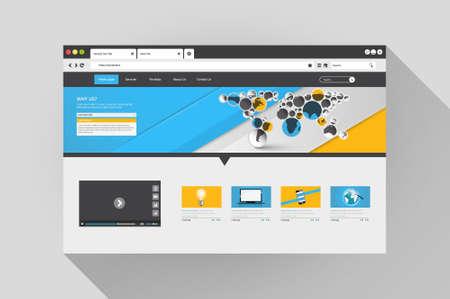 window bars: Vector web browser with website design