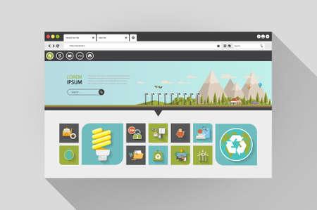 addresses: Vector flat web browser with flat design eco website Illustration