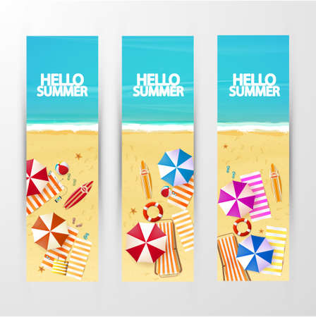 Summer Travel Set of vector banners with beach umbrellas, waves and surfing board