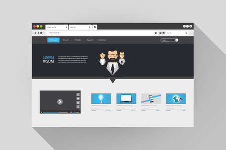web browser: Vector flat web browser with website design