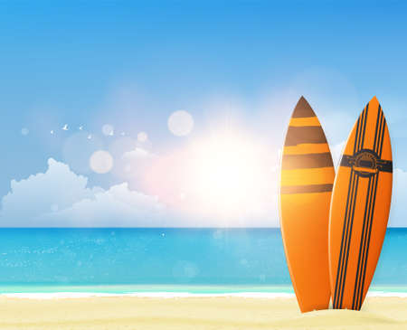 Quality Vector Summer Design. Tropical beach with surfboard