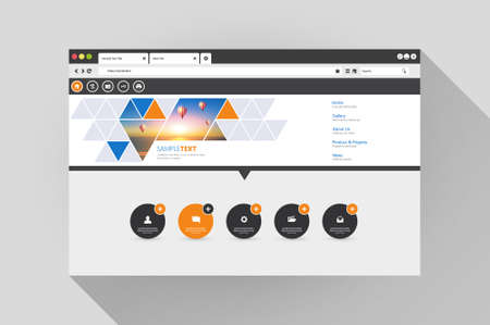 web browser: Vector web browser with website design