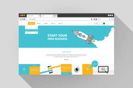 Vector flat web browser with website design