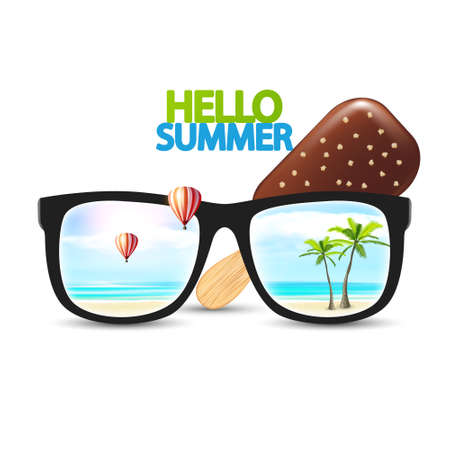 sunglasses reflection: Vector Design Summer Ice Cream with Sunglasses and beach, palms and hot air balloons reflection vector illustration. Summer Vector Design