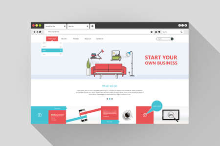 Vector flat web browser and website design template illustration with room flat,