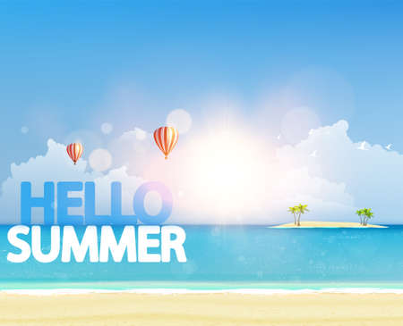 Quality Vector Summer Design. Tropical beach and island with palm tree.