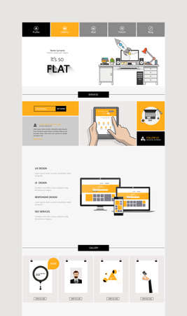 webpage: One Page Website Template Design. All in one set for website design