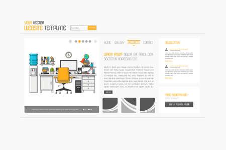 Abstract minimalistic website template or interface. Vector graphics. Vektoros illusztráció