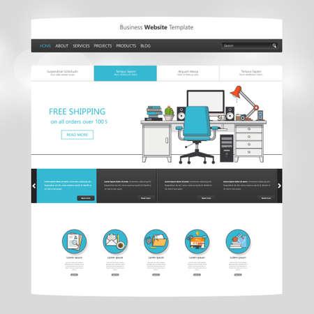Flat Website Template Design. All in one set for website design Vektoros illusztráció