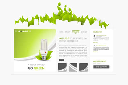 Eco Abstract minimalistic website template or interface. Vector graphics.
