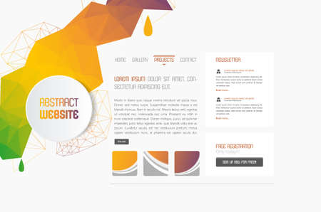 abstact: Minimal Simple website template with colorful polygon shapes.