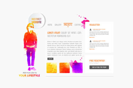 deign: Abstract minimalistic website template or interface. Vector graphics.