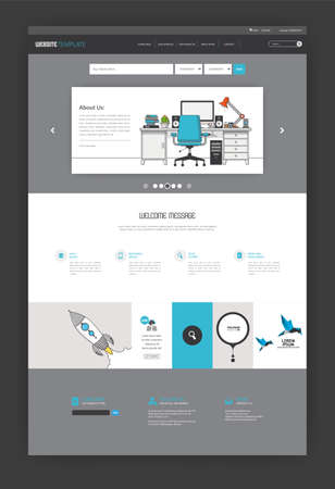 all in one: Simple One Page Website Template Design. All in one set for website design Illustration