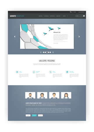 all in: Simple One Page Website Template Design. All in one set for website design Illustration