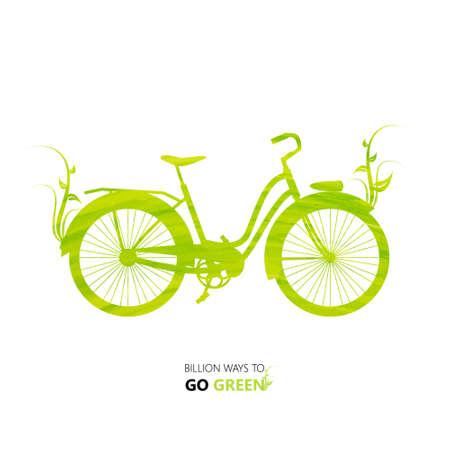 environmentally: Vector Illustration environmentally design. green watercolor painted bike. Think Green. Eco Concept.