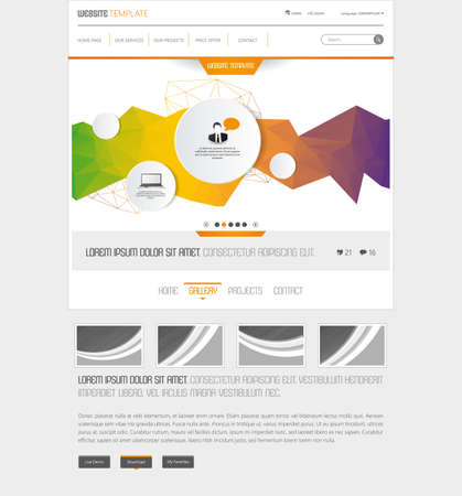 website header: Modern website template with polygon shapes colorful abstract header.