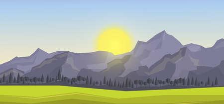 山岳地帯を多角形の背景、ベクトル イラスト。
