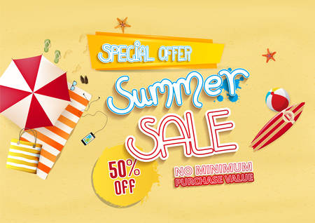 footprints in sand: Summer sale with beach background design elements. Vector illustration Illustration