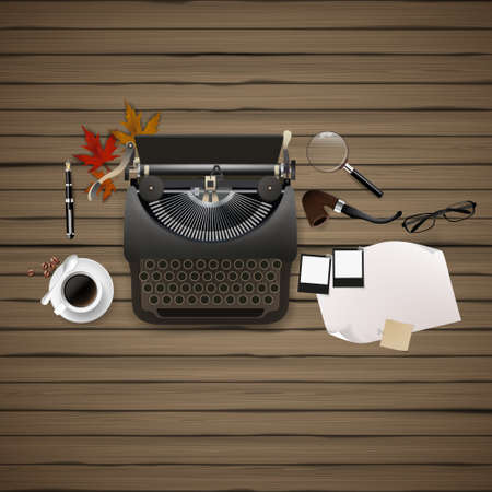 magnyfying glass: Top view of Hipster theme still life. Typewriter and other objects. Illustration