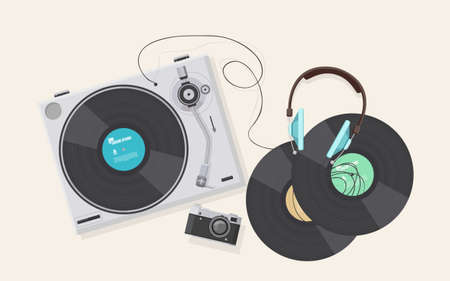 vinyl disk player: Flat illustration, Top view of retro vinyl player, turntable with headphones with retro camera. Illustration