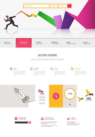 proffesional: Colorful website template in editable vector format.
