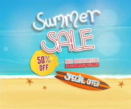 Summer sale Hintergrund Design mit Textobjekten und Strand,