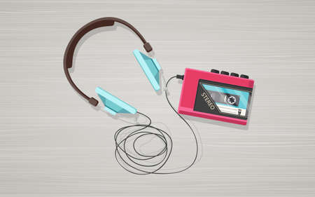 compact cassette: Headphones, player and compact retro cassette on wooden board. Flat top view vector illustration. Illustration
