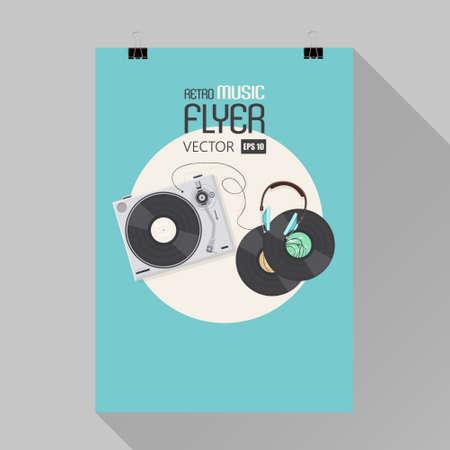 bakelite: Player for vinyl record. Music vector illustration flat.